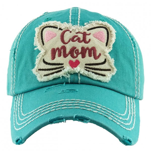 """Vintage Distressed """"Cat Mom"""" Baseball Cap.  - One size fits most - Adjustable Velcro Closure - 100% Cotton"""