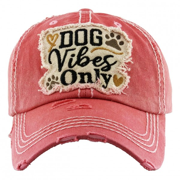 "Vintage Distressed ""Dog Vibes Only"" Baseball Cap.  - One size fits most - Adjustable Velcro Closure - 100% Cotton"