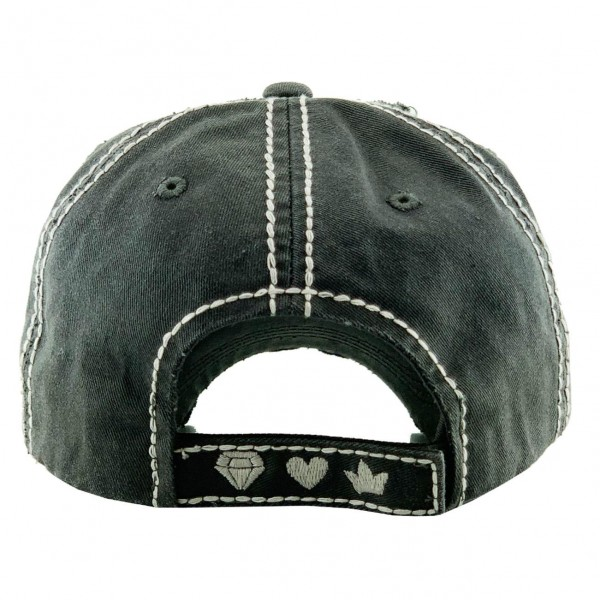 """Vintage Distressed Baseball Cap Featuring """"Wife, Mom, Boss"""".  - One size fits most - Adjustable Velcro Closure - 100% Cotton"""