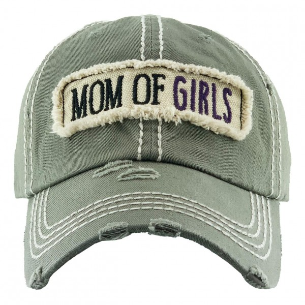"""""""Mom of Girls"""" Vintage Distressed Baseball Cap.  - One size fits most - Adjustable Velcro Closure - 100% Cotton"""