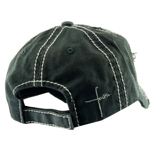 "Cross ""Faith"" Vintage Distressed Baseball Cap.  - One size fits most - Adjustable Velcro Closure - 100% Cotton"