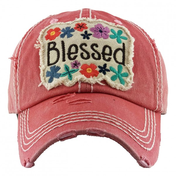 Floral Blessed Embroidered Vintage Distressed Baseball Cap.  - One size fits most - Adjustable Velcro Closure - 100% Cotton