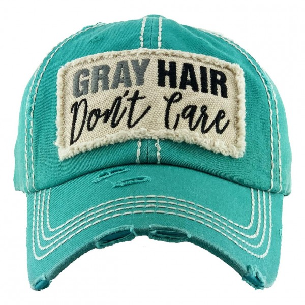 "Vintage Distressed ""Grey Hair Don't Care"" Baseball Cap.  - One size fits most - Adjustable Velcro Closure - 100% Cotton"