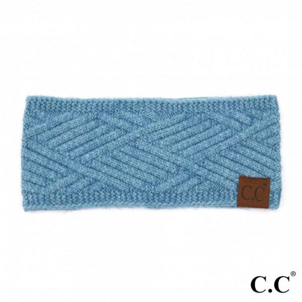 C.C HW-2060 Diagonal Stripe Criss-Cross Knit Pattern Head Wrap.  - One size fits most - 47% Rayon / 31% PBT / 22% Nylon