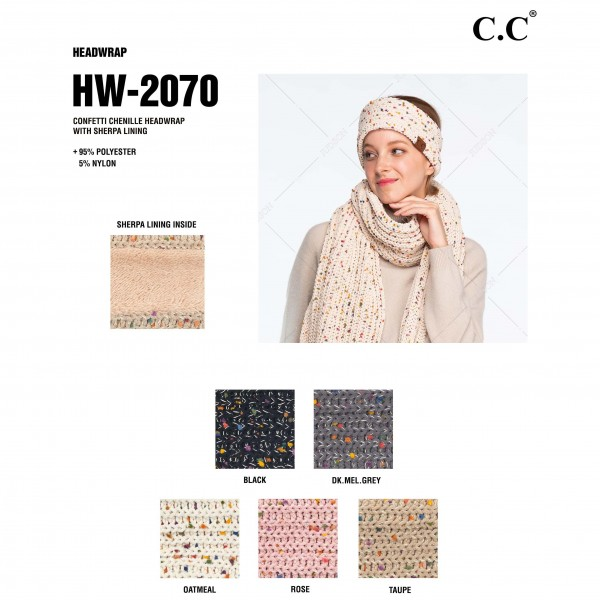 C.C HW-2070 Confetti Chenille Knit Head Wrap Featuring Sherpa Lining.  - One size fits most - 95% Polyester / 5% Nylon