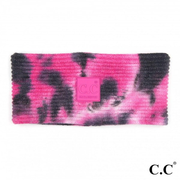 C.C HW-7380 Tie-Dye Ribbed Knit Head Wrap with C.C Brand Rubber Patch.  - One size fits most - 52% Viscose / 28% Polyester / 20% Nylon