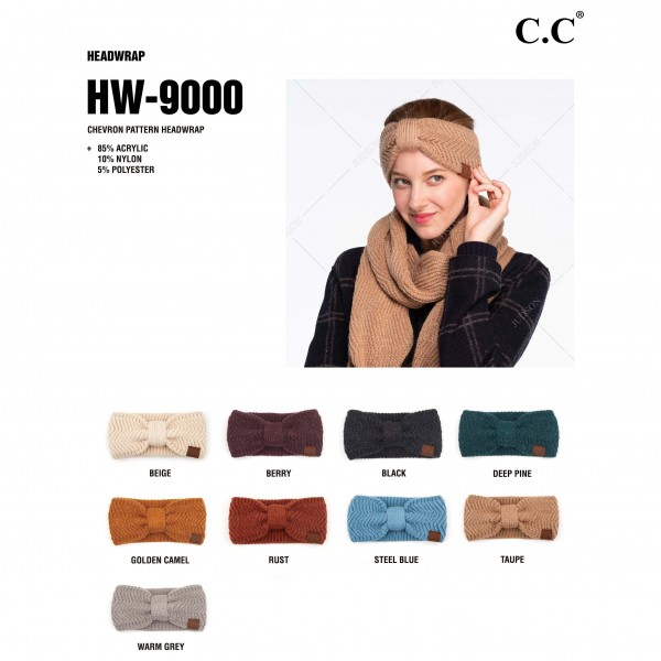C.C HW-9000 Chevron Knit Pattern Head Wrap.  - One size fits most  - 85% Acrylic / 10% Nylon / 5% Polyester