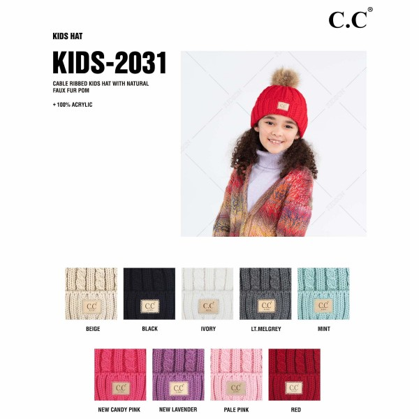 C.C KIDS-2031 Kids Cable Ribbed Knit Pom Beanie with Natural Faux Fur.  - One size fits most - 100% Acrylic