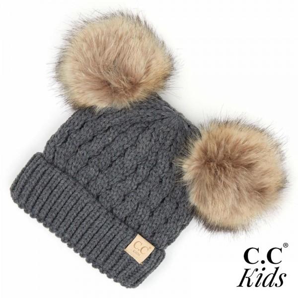 Wholesale c C KIDS Kids Cable Knit Double Faux Fur Pom Beanie One fits most Acry