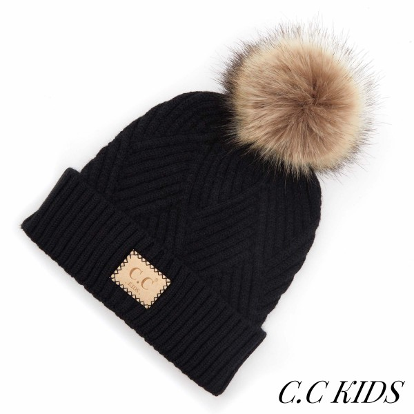 Wholesale c C KIDS Kids Diagonal Stripe Criss Cross Knit Pom Beanie One fits mos