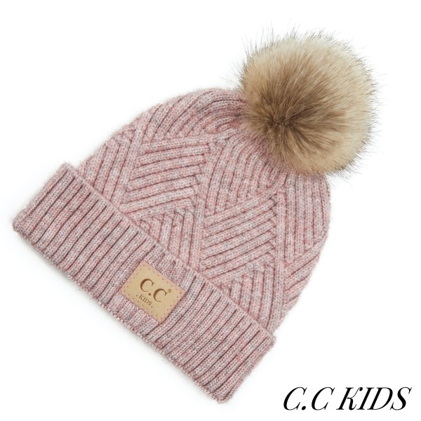 Wholesale c C KIDS Kids Diagonal Stripe Criss Cross Knit Pom Beanie One fits mos