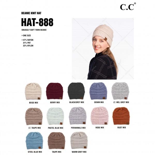 C.C HAT-888 Snuggly Soft Yarn Knit Beanie.  - One size fits most - 47% Rayon / 31% PBT / 22% Nylon