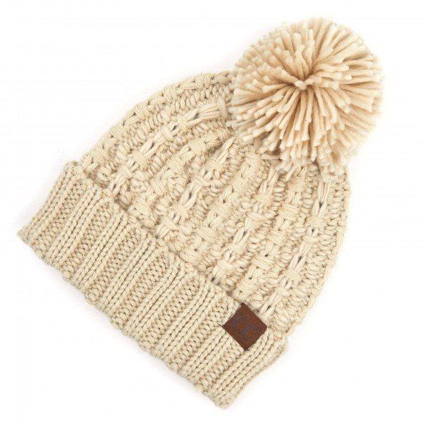 Wholesale c C HAT Chunky Slipstitch Pom Beanie One fits most Acrylic