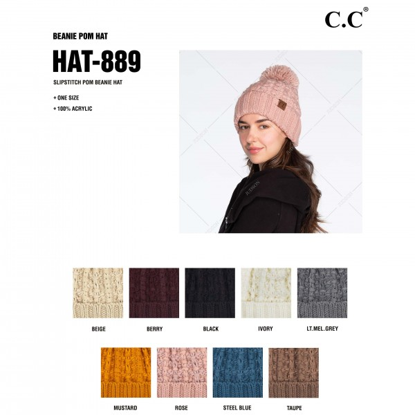 C.C HAT-889 Chunky Slipstitch Pom Beanie.  - One size fits most - 100% Acrylic