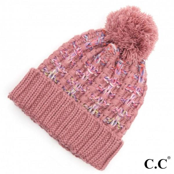 C.C HAT-2050 Ombre Double Slipstitch Pom Beanie.  - One size fits most  - 100% Acrylic