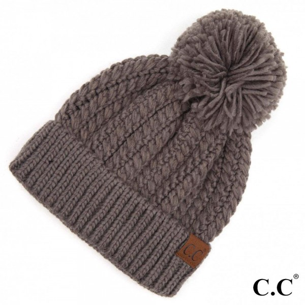 Wholesale c C HAT Twisted Mock Cable Knit Pom Beanie One fits most Acrylic