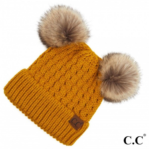 C.C HAT-2055 Cable Knit Faux Fur Double Pom Beanie.  - One size fits most - 100% Acrylic
