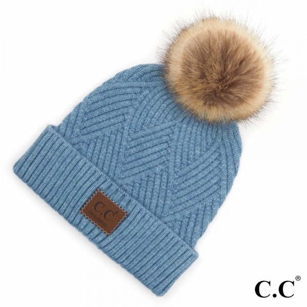 Wholesale c C HAT Diagonal Stripe Knit Pattern Pom Beanie C C Brand Leather Patc