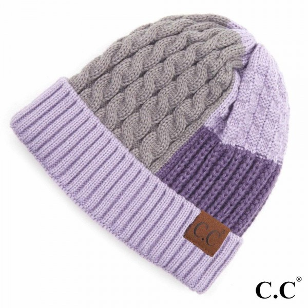 C.C HAT-2065 Color Block Multi Knit Beanie with Cuff.  - One size fits most  - 100% Acrylic
