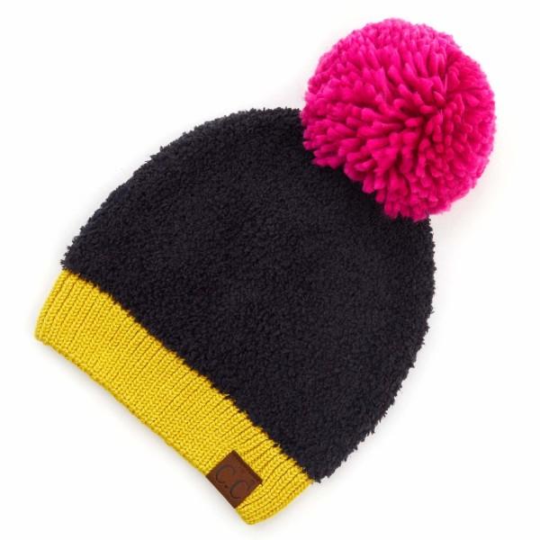 C.C HAT-2069 Sherpa Knit Yarn Pom Beanie.  - One size fits most  - 50% Acrylic / 50% Polyester