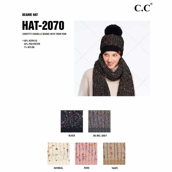 C.C HAT-2070 Confetti Chenille Knit Pom Beanie.  - One size fits most - 50% Acrylic / 43% Polyester / 7% Nylon