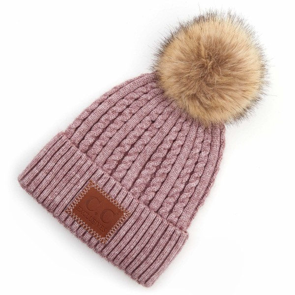 Wholesale c C HAT Double Braided Knit Pom Beanie C C Brand Leather Patch One fit