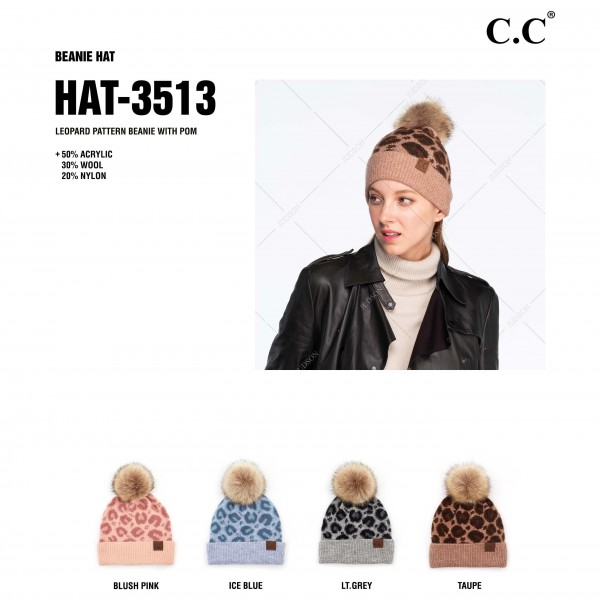 C.C HAT-3513 Leopard Print Pom Beanie with Cuff.  - One size fits most - 47% Rayon / 31% PBT / 22% Nylon