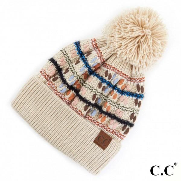 C.C HAT-3514 Chunky Knit Design Pom Beanie.  - One size fits most  - 100% Acrylic