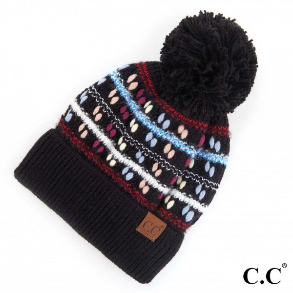 C.C HAT-3514 Chunky Knit Design Pom Beanie.  - One size fits most  - 100% Acrylic
