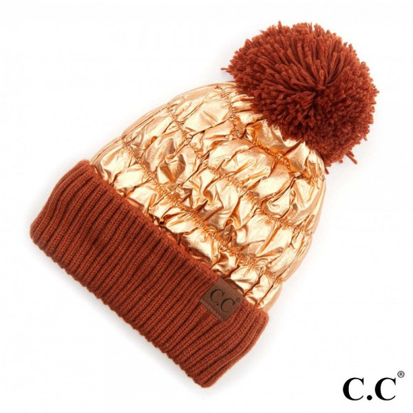 C.C HAT-3600  Metallic Puffy Pom Beanie with Cuff.  - One size fits most - 60% Polyester / 40% Acrylic