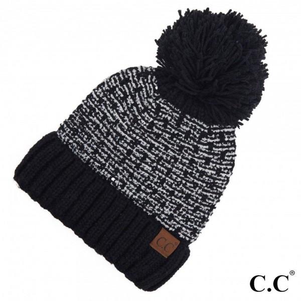 C.C HAT-3606 Tweed Style Knit Pom Beanie.  - One size fits most  - 100% Acrylic