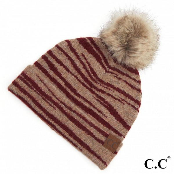 C.C HAT-3607 Zebra Print Pom Beanie  - One size fits most  - 50% Acrylic / 30% Wool / 20% Nylon