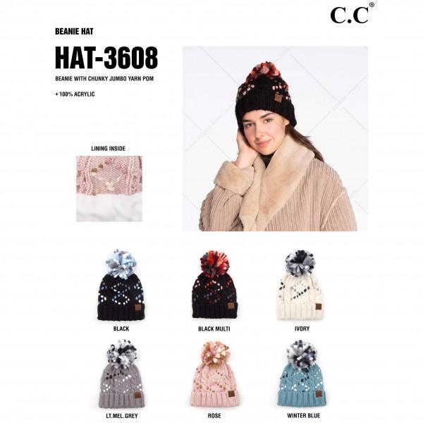 C.C HAT-3608 Jumbo Yarn Chunky Knit Pom Beanie.  - One size fits most  - 100% Acrylic