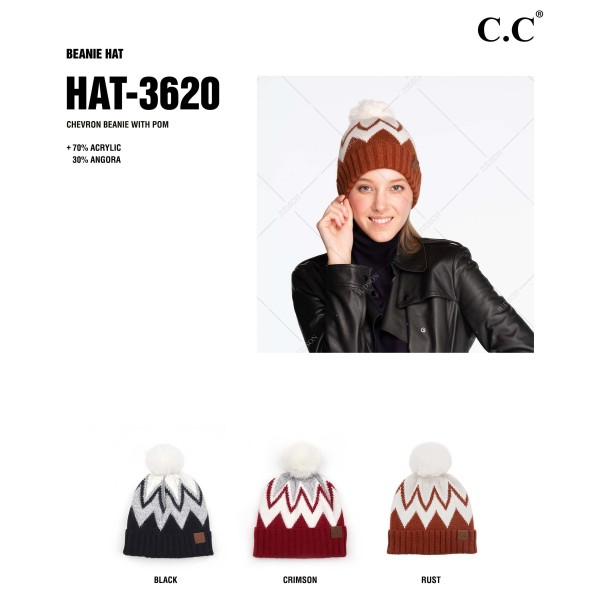C.C HAT-3620 Chevron Knit Pattern Pom Beanie with Cuff.  - One size fits most  - 70% Acrylic / 30% Angora