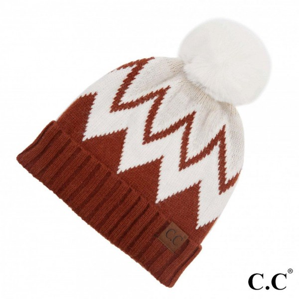 C.C HAT-3620 Chevron Knit Pattern Pom Beanie with Cuff.  - One size fits most  - 70% Acrylic / 30% Angora