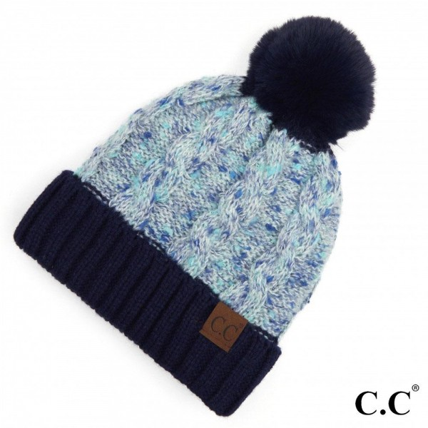 C.C HAT-3621 Confetti Cable Knit Pom Beanie with Cuff.  - One size fits most  - 70% Acrylic / 30% Polyester