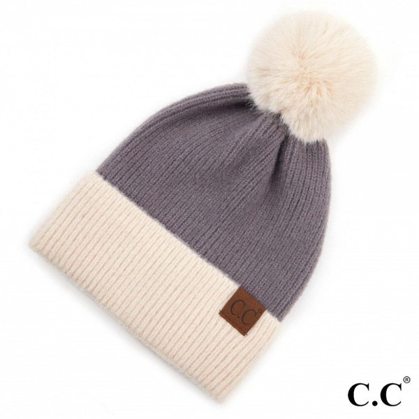C.C HAT-3627 Solid Ribbed Knit Pom Beanie with Cuff.  - One size fits most - 100% Acrylic