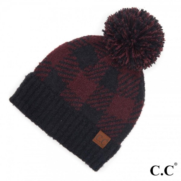 Wholesale c C HAT Buffalo Check Jacquard Knit Pom Beanie One fits most Polyester