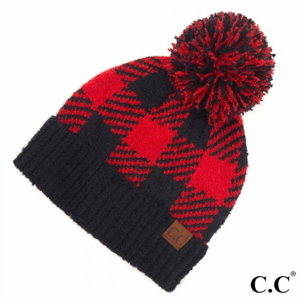 C.C HAT-7000 Buffalo Check Jacquard Knit Pom Beanie.  - One size fits most  - 100% Polyester