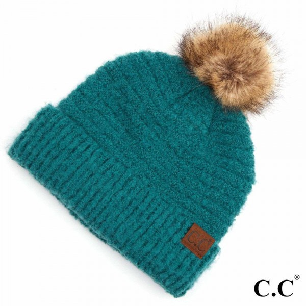 Wholesale c C HAT POM Solid Boucle Yarn Pom Beanie One fits most Polyester Boucl