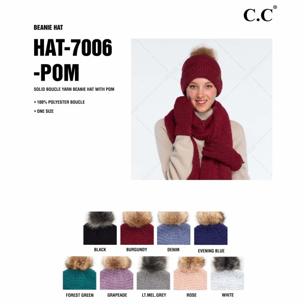 C.C HAT-7006POM Solid Boucle Yarn Pom Beanie  - One size fits most - 100% Polyester Boucle