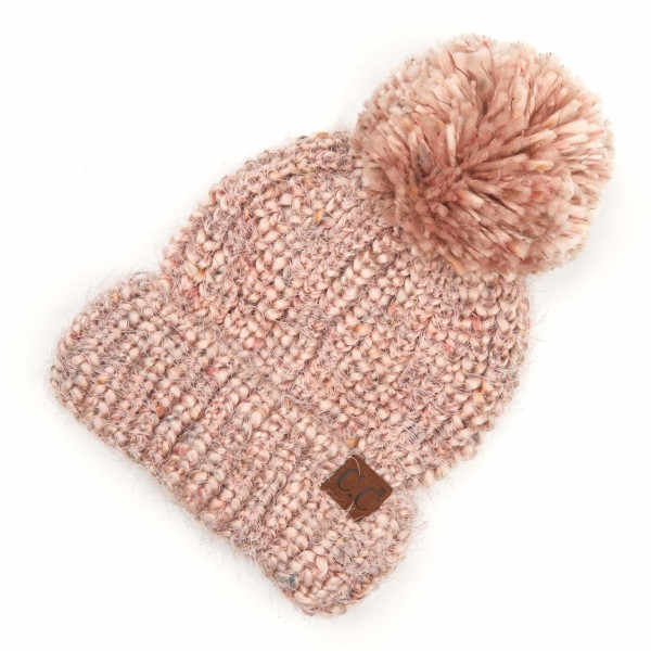Wholesale c C HAT Multicolor Feather Yarn Knit Pom Beanie One fits most Acrylic