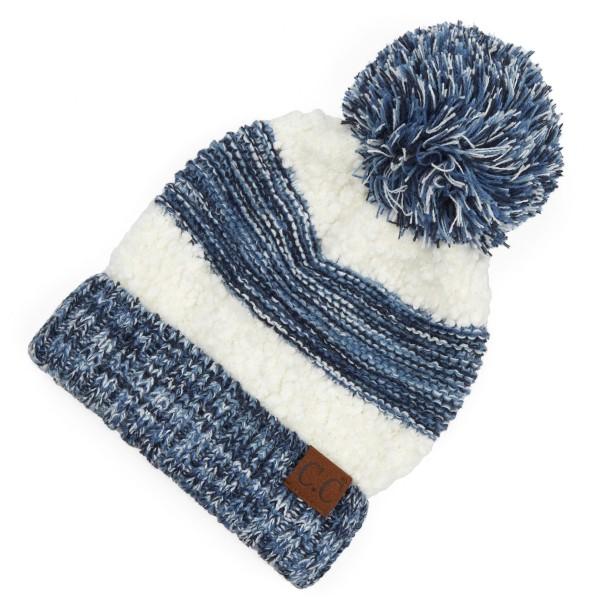 Wholesale c C HAT Popcorn Yarn Sherpa Knit Pom Beanie One fits most Acrylic Nylo