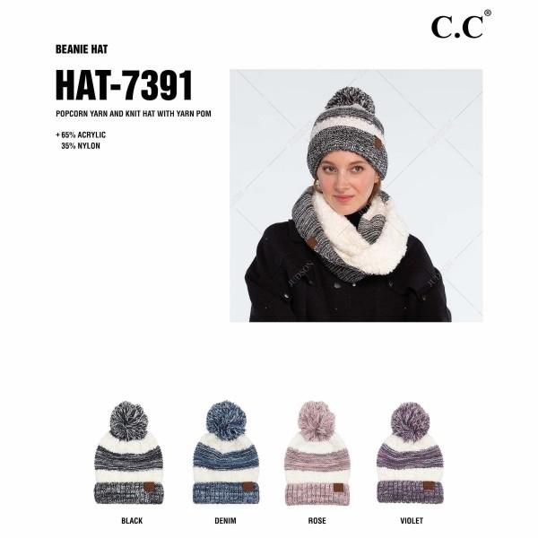 C.C HAT-7391 Popcorn Yarn Sherpa Knit Pom Beanie.  - One size fits most  - 65% Acrylic / 35% Nylon