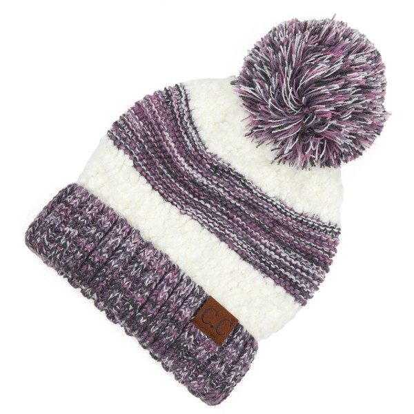 Wholesale c C HAT Popcorn Yarn Sherpa Knit Pom Beanie One fits most Acrylic Nylo