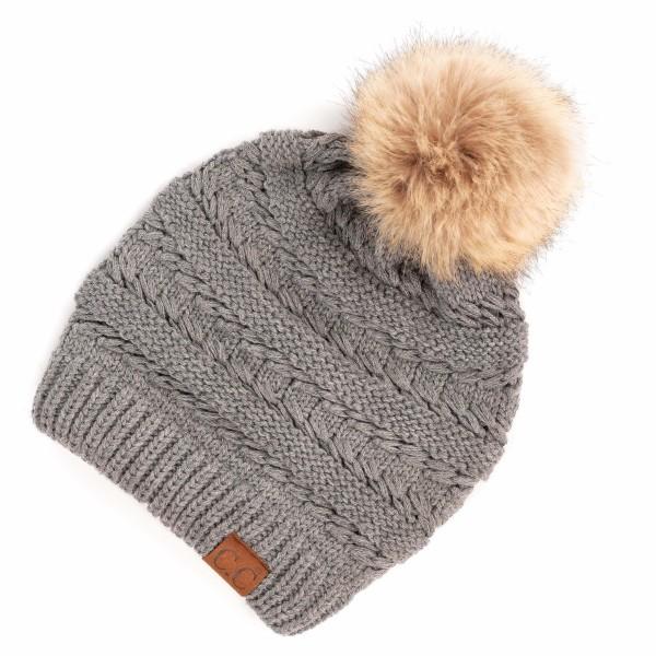 C.C HAT-7392-POM Decorative Tilted Whip Stitch Knit Slouch Pom Beanie.  - One size fits most - 100% Acrylic - POM: 100% Faux Fur