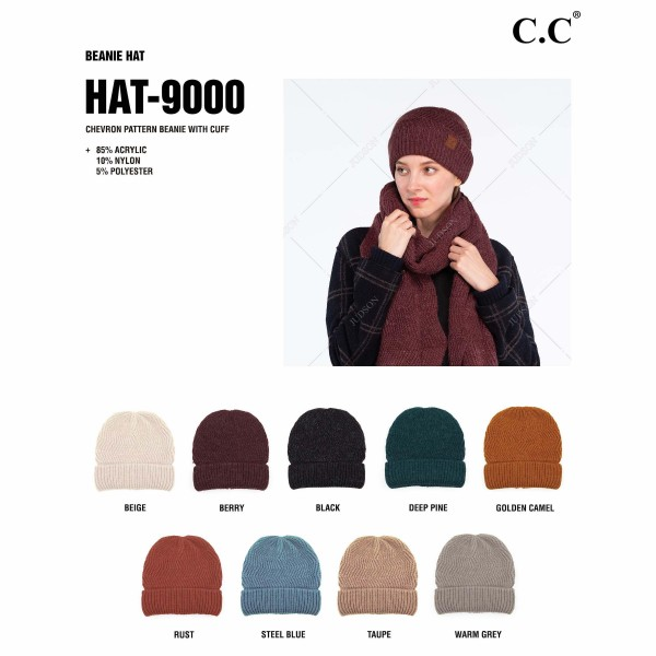 C.C HAT-9000 Chevron Knit Pattern Beanie with Cuff.  - One size fits most  - 85% Acrylic / 10% Nylon / 5% Polyester
