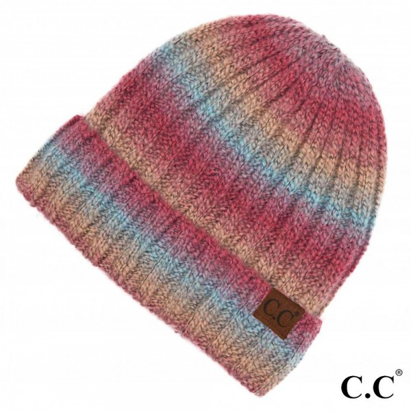 C.C HAT-9004 Ombre Knit Beanie with Cuff.  - One size fits most  - 65% Acrylic / 25% Nylon / 10% Spandex