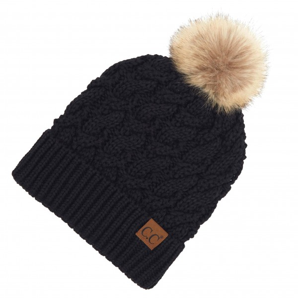 Wholesale c C YJ Twisted Knit Pom Beanie Faux Fur Inside Lining One fits most Ac