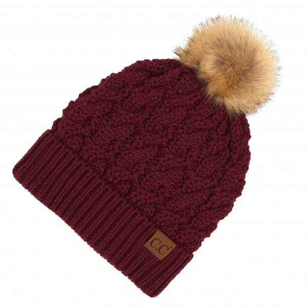 Wholesale c C YJ Twisted Knit Pom Beanie Faux Fur Inside Lining One fits most Ac
